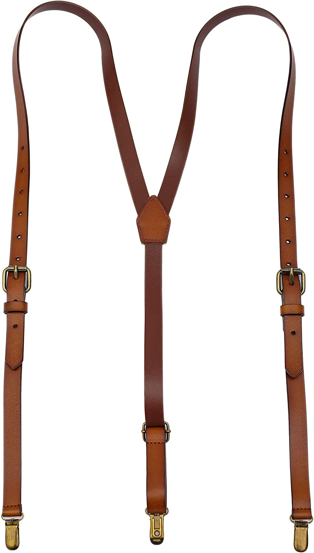 Leather Suspenders For Men Y Back Design Adjustable Brown Genuine Leather Suspenders Personalized groomsmen gifts
