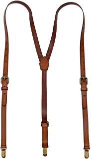 Leather Suspenders For Men Y Back Design Adjustable Brown Genuine Leather Suspenders Personalized groomsmen gifts