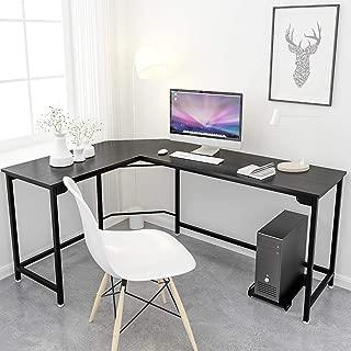 Simlife L-Shaped Desk Black Corner Gaming Computer Desk Modern Home Office PC Laptop Workstation Study Table Wood & Metal
