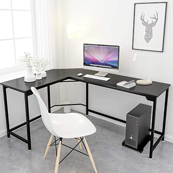 Simlife Modern L Shaped Desk 66 Inch Computer Desk Corner Gaming Desk Home Office PC Laptop Workstation Study Table Wood Metal Black