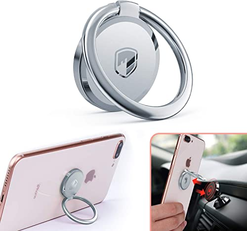 Phone Ring Holder Finger Kickstand - FITFORT 360° Rotation Metal Ring Grip for Magnetic Car Mount Compatible with All...
