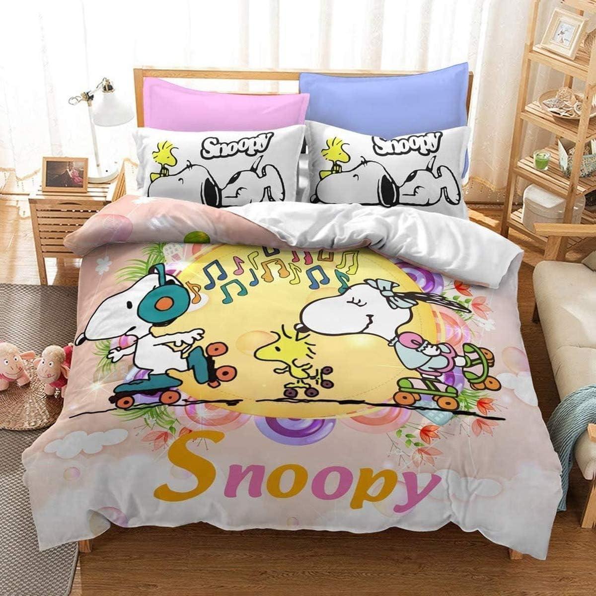A1,135X200cm+50x75cmx2 QWAS Bettw/äsche Snoopy Pattern Series Bettbezug Weiche hochwertige Bettbezug aus Mikrofaser