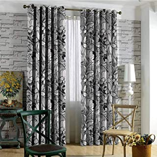 hengshu Garden Art Wear-Resistant Color Curtain Botanical Pattern with Hand Drawn Flowers Frangipani Mimosa and Lotus 2 Panel Sets W72 x L96 Inch Black White Pale Grey