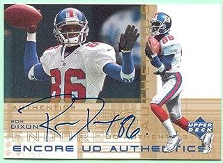 Ron Dixon 2000 UD Encore Autograph #DX - New York Giants, On Card