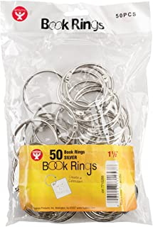 Hygloss Products Book Rings – 1-1/2 Inch Silver Steel Metal Binder Rings, 50 Pack
