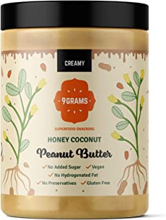 9GRAMS Natural Peanut Butter | Honey + Coconut | Improved Packaging | Creamy | No Sugar, No Preservatives | 1KG