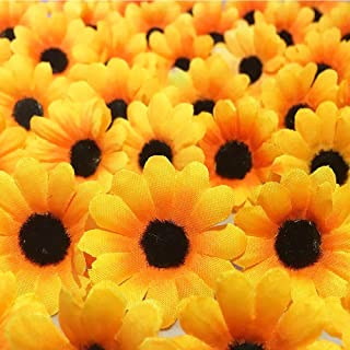 shuoxin 200 Pcs Artificial Silk Sunflower Heads, Fake Sunflower for Sunflower DIY Wedding Fall Autumn Party Floral Wreath Accessories