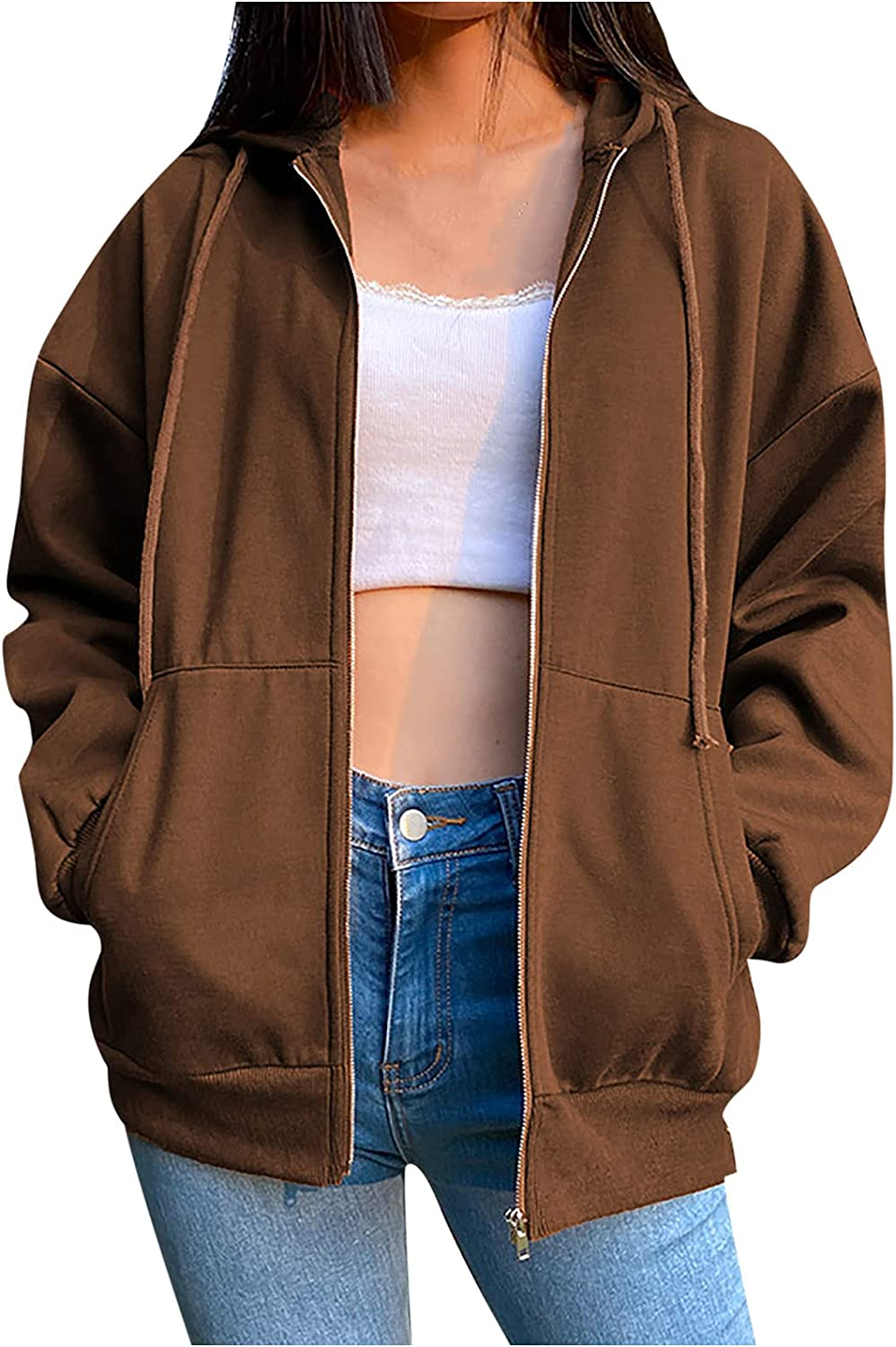 Lightweight Athletic Hooded for Women Full Zip Up Long Sleeve Comfortable Runing Jackets with Pockets