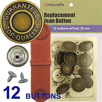 11//16 Inch 6 Count Dritz 4-38 No-Sew Jean Buttons Antique