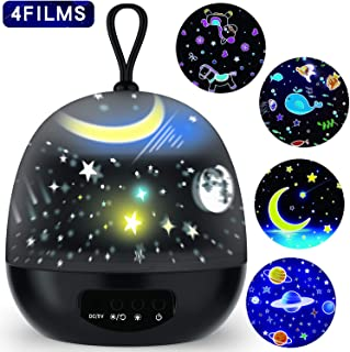 Star Projector Night Lights for Kids - 4 Set Films 360 Degree Rotating - Bedside Lamp with USB Cable, 4 LED Bulbs, 8 Color Changing - Best Gift for Kids, Party Decorations - Black