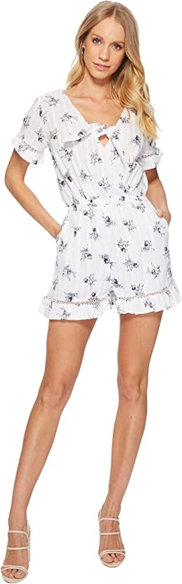 J.O.A. Short Sleeve Romper with Ruffled Hem