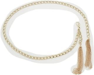 TFJ Women Fashion Belt Skinny Metal Chain Fringes Wrap Around Plus M L Gold