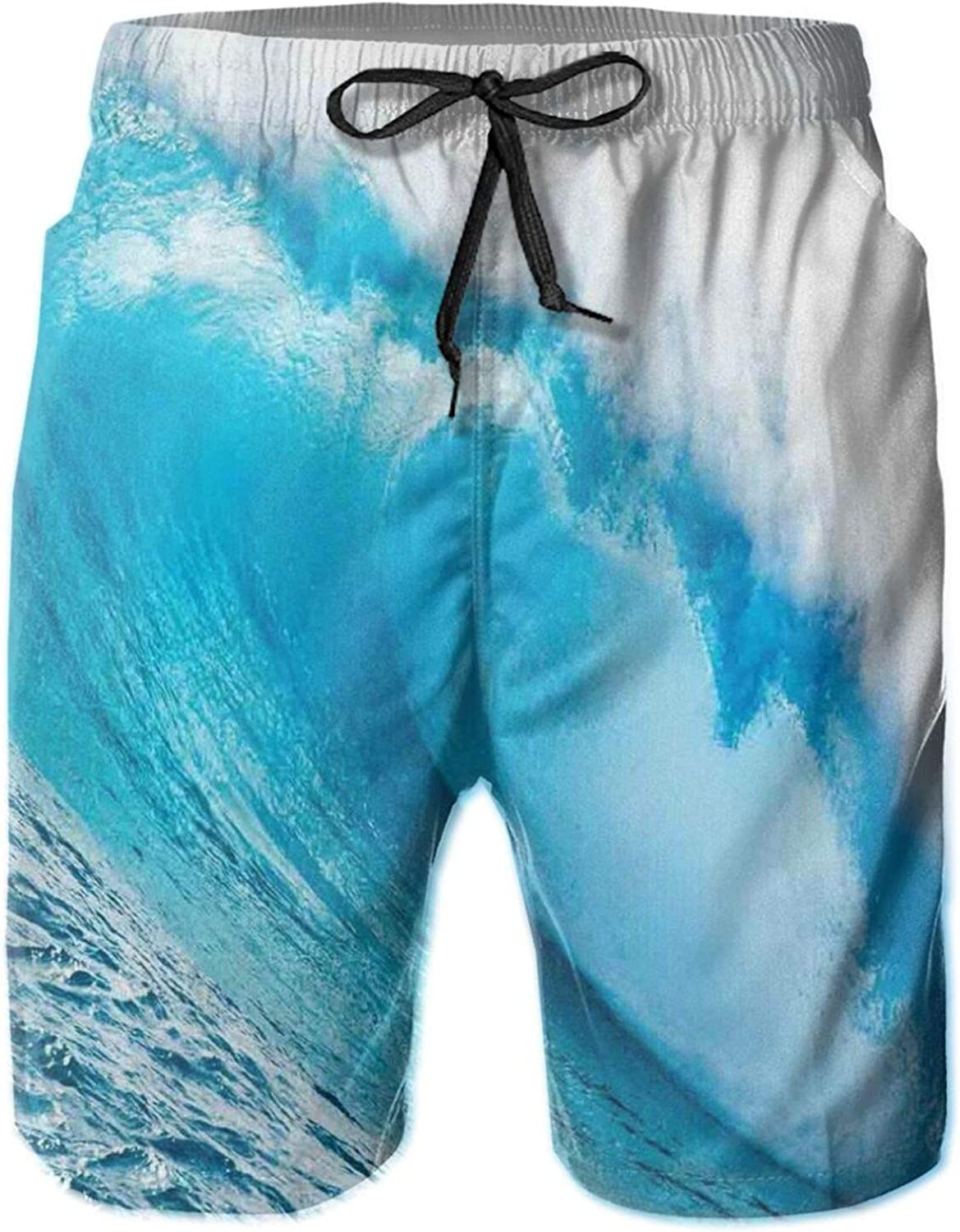 Surfing Water Tube Appeares After Forceful Giant Wave Curls Itself On Sea Mens Swim Shorts Casual Workout Short Pants Drawstring Beach Shorts,XXL