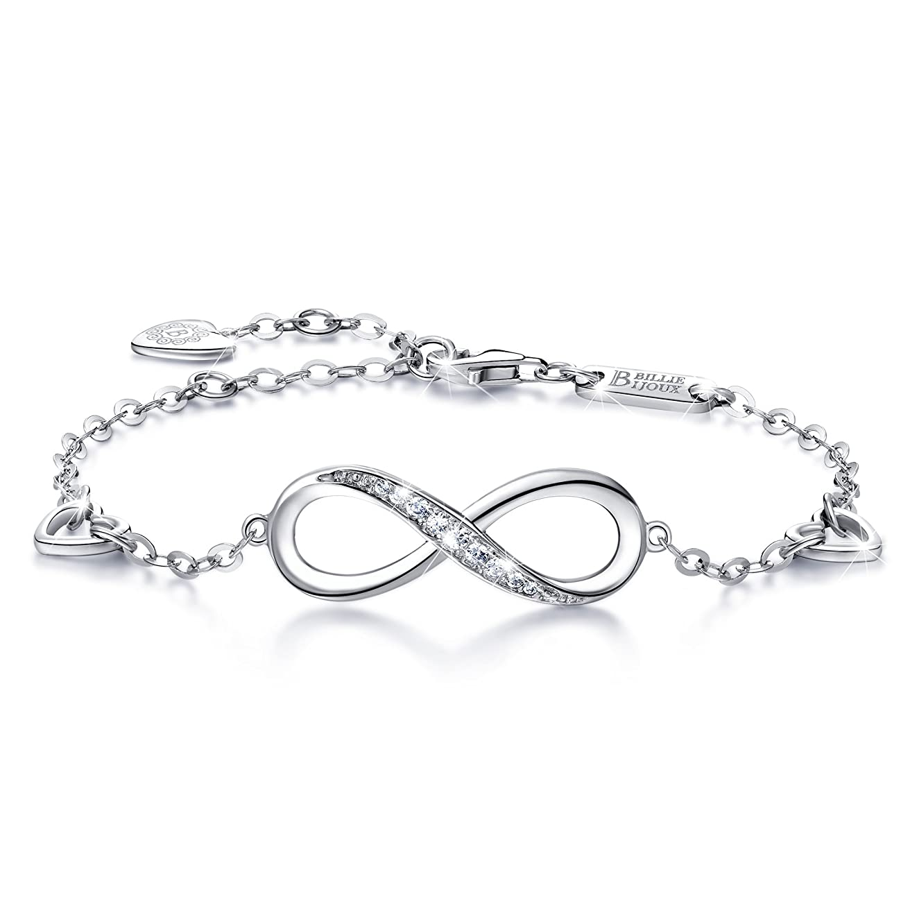 Billie Bijoux Womens 925 Sterling Silver Infinity Endless Love Symbol Charm Adjustable Bracelet for Women Mother's Day