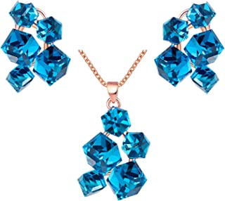 Uloveido Blue Red Multicolor Crystal Rose Gold Plated Necklace Pendant and Dangle Earrings Jewelry Set for Women with Velvet Box GR127
