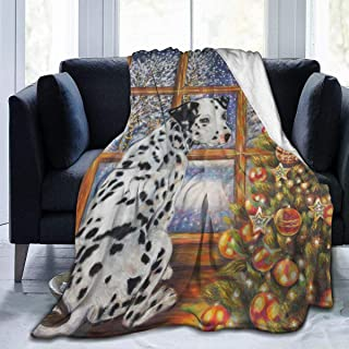 Idealism Spotted Dalmatian Dog Christmas Tree Snow Home Fashion Designs Flannel Fleece Microfiber Throw Blanket Lightweight Cozy Couch Bed Super Soft and Warm Plush 3 Sizes