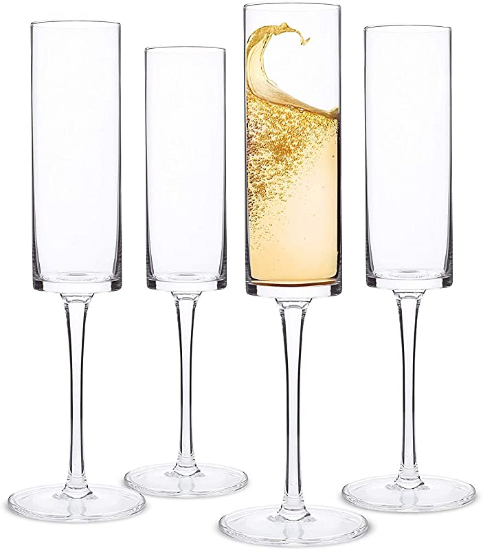 Champagne Flutes Edge Champagne Glass Set Of 4 Modern Elegant Gift For Women Men Wedding Anniversary Christmas Birthday 6oz 100 Lead Free Crystal