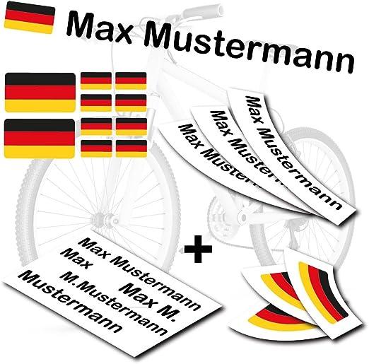 Style4bike Top Namensaufkleber 2er Set Inkl Deutschland Flagge Als Aufkleber Sticker Fahrrad Auto S S4b0177 Sport Freizeit