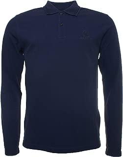 Belstaff Men's Pique Cotton Long Sleeve Polo Shirt Navy