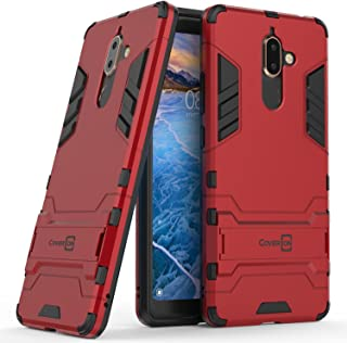 Nokia 7 Plus Case, CoverON [Shadow Armor Series] Hybrid Slim Fit Matte Phone Cover Case with Kickstand for Nokia 7 Plus - Red & Black