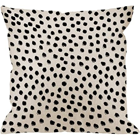 Amazon Com Hgod Designs Polka Dots Decorative Throw Pillow Cover Case Brush Strokes Dots Cotton Linen Outdoor Pillow Cases Square Standard Cushion Covers For Sofa Couch Bed Car 18x18 Inch Black Kitchen Dining