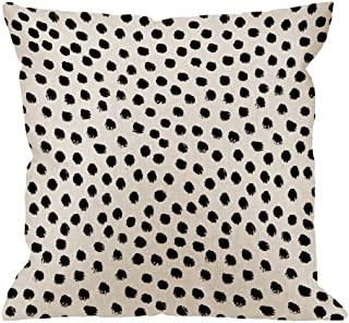 HGOD DESIGNS Polka Dots Decorative Throw Pillow Cover Case,Brush Strokes Dots Cotton Linen Outdoor Pillow Cases Square Sta...