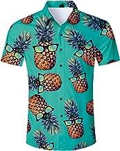 Jubestar Men's Hawaiian Shirt 3D Tropical Summer Aloha Short Sleeve Button Down Shirt
