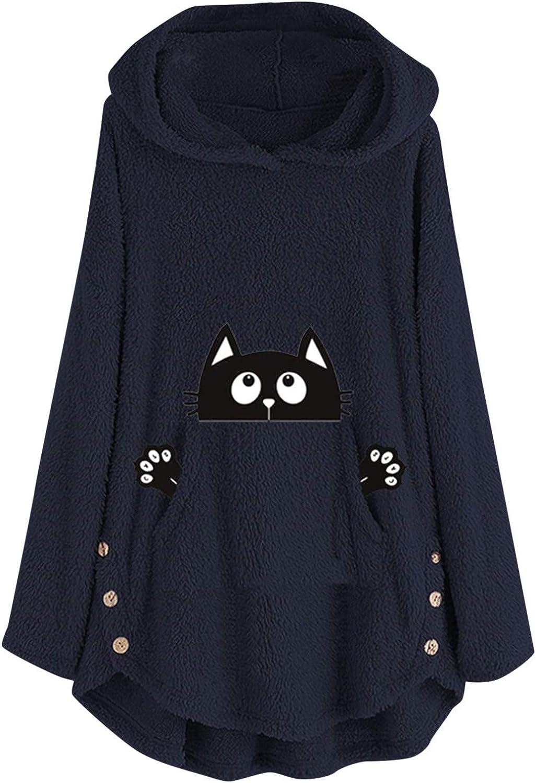 Hotkey Phoenix Mall Hoodies for Women Long Indefinitely Sweatshirts Pocket Dog Sleeve Cute