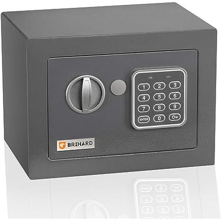 Caja fuerte electrónica Junior Brihard 17x23x17cm - Pequeña caja seguridad electrónica con código - Bloqueo digital de teclado, LED - Primera caja ...