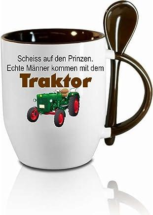 Preisvergleich für Creativ Deluxe Tasse m. Löffel Scheiss auf Den Prinzen - Echte Männer Kommen mit Dem Traktor Bürotasse - Motivtasse - Tasse mit Wunschmotiven