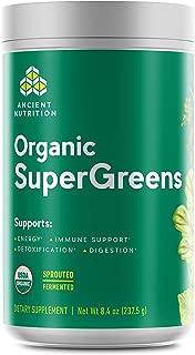 Ancient Nutrition Organic SuperGreens - Digestive Enzymes, Fermented Foods, 2 Billion CFU Probiotic Blend, USDA Certified Organic, Peppermint Flavor, 8.4oz