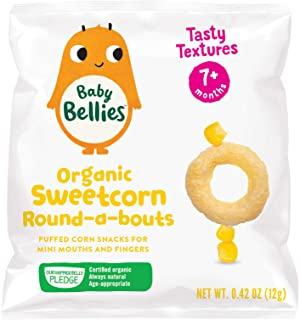 Baby Bellies Organic Round-a-bouts Baby Snack, Sweetcorn, Pack of 6 Individual Snack Packs