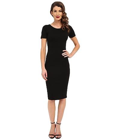Unique Vintage Knit Bodycon Short Sleeve Mod Dress (Black) Women
