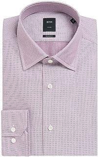 4bcea8f2c Hugo Boss Men's T-Stuart' Dark Purple Regulat Fit Finely Patterned Cotton  Dress Shirt