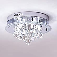 Saint Mossi Modern K9 Crystal Raindrop Chandelier Lighting Flush Mount LED Ceiling Light Fixture Pendant Lamp for Dining Room Bathroom Bedroom Livingroom 6 G9 Bulbs Required H9