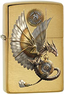 Zippo Lighter: Anne Stokes Steampunk Dragon - Brushed Brass 79281