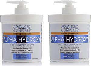 Advanced Clinicals Alpha Hydroxy Acid Cream for face and body. 16oz anti-aging cream with Alpha Hydroxy Acid for wrinkles, fine lines, dry skin. (Two - 16oz)