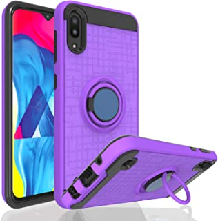 Ayoo for:Galaxy M10 Case,Galaxy A10 Case,Galaxy M10 / Galaxy A10 Phone Case,360 Degree Rotating Ring Magnetic Stand Fishnet Full Bodystocking Dual Layer Shock-Absorption for Galaxy M10-ZK Purple