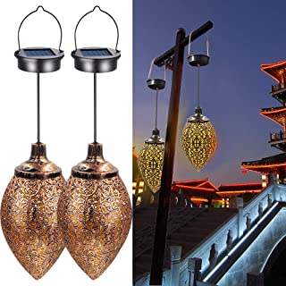 2PCS Hanging Solar Lights Solar-Powered Lantern LED Garden Lights Metal Lamp Waterproof for Outdoor Hanging Decor