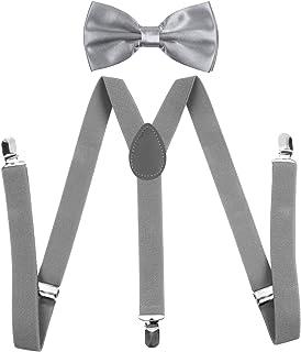 Men's Bow Tie and Y Shape Suspender Set Adjustable Elastic Solid Color