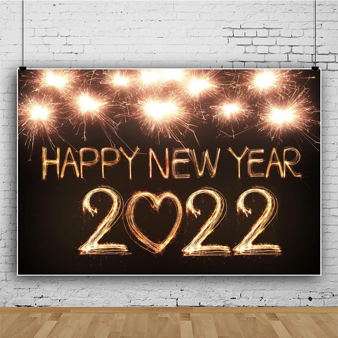 Leowefowa Happy New Popular overseas Year 2022 9x6ft products world's highest quality popular Backdrop Sparkling Fireworks