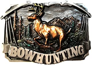 BOW HUNTING PEWTER BELT BUCKLE - MADE IN USA