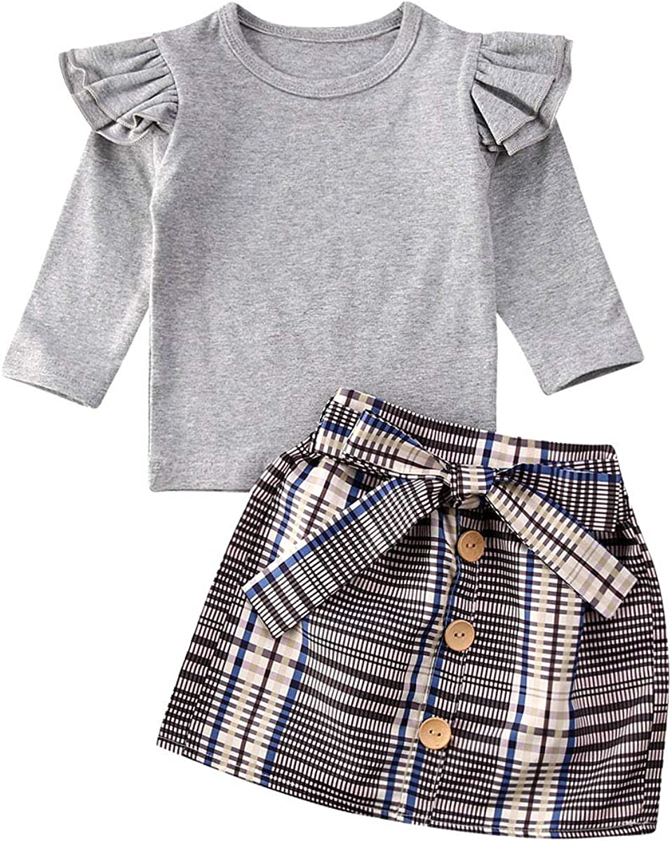 2PCS Toddler Baby Girls Outfits Clothes Long Sleeve Ruffle T-Shirt Tops Plaid Skirt Set
