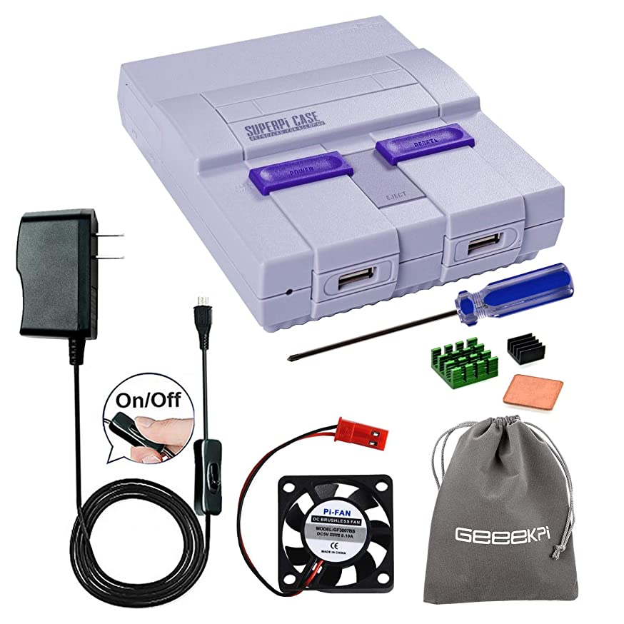 Retroflag SUPERPI CASE UCase SNES Case with 5V 2.5A US Power Supply with ON/Off Switch & Cooling Fan & Heatsinks & Flannel Bag for RetroPie Raspberry Pi 3/2 Model B & Raspberry Pi 3 B+