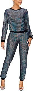 Aro Lora Women's 2 Piece Club Outfit Glitter Sequin Long Sleeve T Shirt Top Pant Set Party Bodycon Jumpsuits