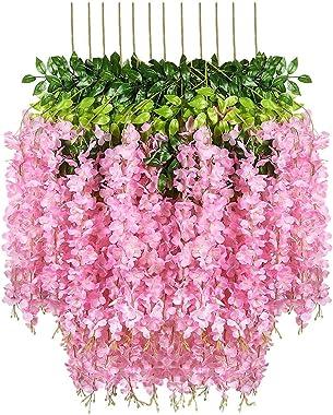 Fourwalls Artificial Hanging Dense Wisteria Flower Vine (Set of 4, White) (Dark/Pink)
