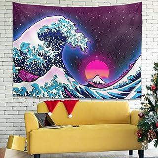 Zhenxinganghu Tapiz de pared con gran ola hippie con decoración étnica para salón, dormitorio o dormitorio, gran ola blanc...