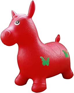 RED Horse Hopper, Pump Included (Inflatable Space Hopper, Jumping Horse, Ride-on Bouncy Animal