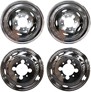 MGPRO 4pcs For Front+Rear Polished Stainless Steel 17in. Dually 8-Lug 5-Hand Hole Wheel Simulators Hub Caps Skins Liners Covers R17 with Removable Centre Caps For 03-14 Dodge Ram 3500 Dually