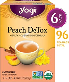 Yogi Tea - Peach DeTox - Healthy Cleansing Formula - 6 Pack, 96 Tea Bags Total